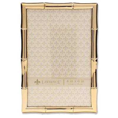 Lawrence Frames 4W x 6H Gold Metal Picture Frame with Bamboo Design (712246)