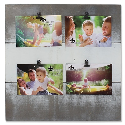 Lawrence Frames Collage Picture Frame  Weathered Gray and White Holds Four 4W x 6H Photos (741564Q)