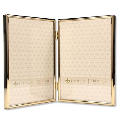 Lawrence Frames 5W x 7H Hinged Double Simply Gold Metal Picture Frame (670057D)