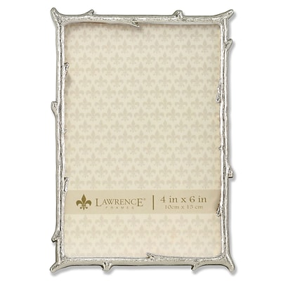 Lawrence Frames 4W x 6H Silver Metal Picture Frame with Natural Branch Design (712646)