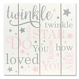 Lawrence Frames 9W x 9H Distressed White and Pink Wood Panel Sign - Twinkle Twinkle (377699)