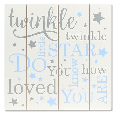 Lawrence Frames 9W x 9H Distressed White and Blue Wood Panel Sign - Twinkle Twinkle (377299)