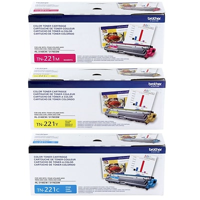 Brother TN-221C/M/Y Color Toner Cartridge 3PK