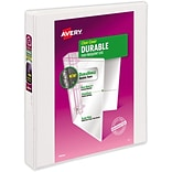 LUX 1 Durable View Poly Binder w/ Slant Rings 2/Pack, White (PB-1SRWHITE-2)