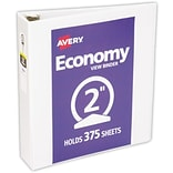 LUX 2 Economy View Poly Binder w/ Round Rings 2/Pack, White (PB-2RREWHITE-2)