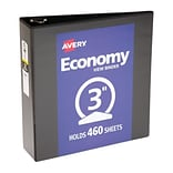 LUX 3 Economy View Poly Binder w/ Round Rings 5/Pack, Black (PB-3RREBLACK-5)