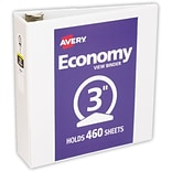 LUX 3 Economy View Poly Binder w/ Round Rings 2/Pack, White (PB-3RREWHITE-2)