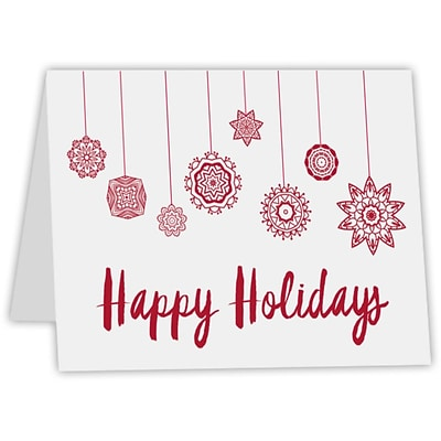 LUX A7 Folded Card (5 1/8 x 7) 250/Pack, 80 lb. Bright White with a printed Happy Holidays Design (A7FW-80WHH-250)
