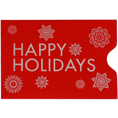LUX Credit Card Sleeve (2 3/8 x 3 1/2) 50/Pack, Ruby Red w/Happy Holidays Greeting (LUX180118HH50)