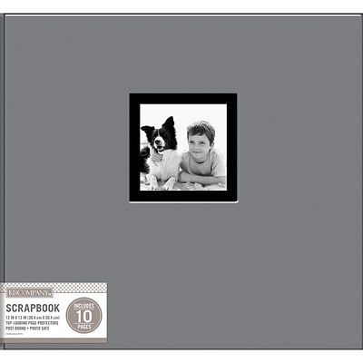 K&Company Gray Fabric Post Bound Window Album, 12 x 12 (30706903)