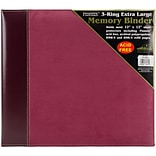 Pioneer Burgundy Suede 3-Ring Sewn Cover Album, 12 x 12 (PTM12-BRS)