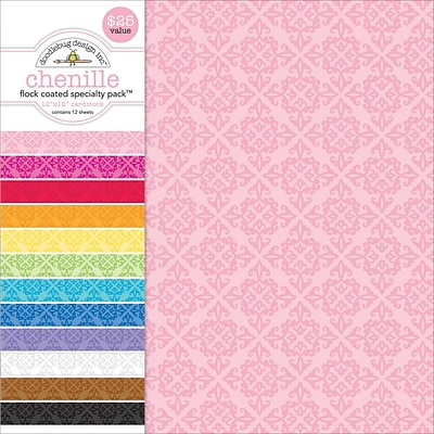 Doodlebug Flocked Chenille Specialty Cardstock Value Pack, 12 x 12, 12/Pkg (SPVP-3844)