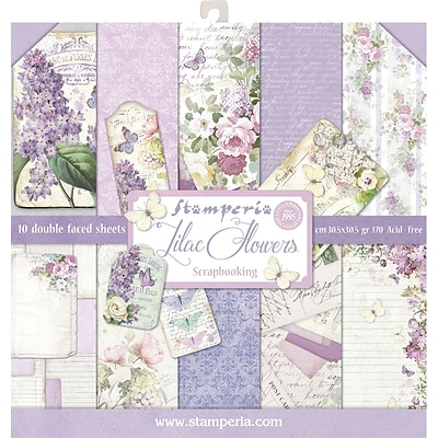 Stamperia Intl Lilac, 10 Designs/1 Each Double-Sided Paper Pad, 12 x 12, 10/Pkg (SBBL21)