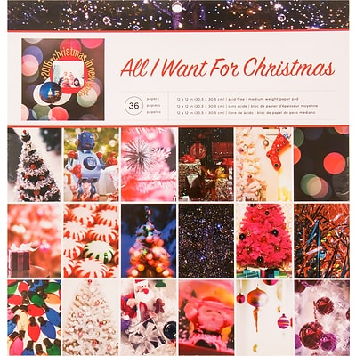 American Crafts Photo Real All I Want For Christmas Single-Sided Paper Pad, 12 x 12, 36/Pkg (341267)