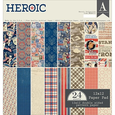 Authentique Paper Heroic, 8 Designs/4 Each Double-Sided Cardstock Pad, 12 x 12, 24/Pkg (HER012)