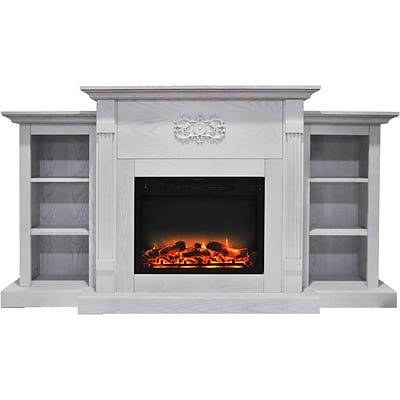Cambridge Sanoma 72 Electric Fireplace in White with Built-in Bookshelves and an Enhanced Log Display (CAM7233-1WHTLG2)