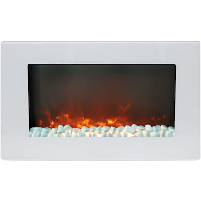"Cambridge Callisto 30"" Wall Mount Electric Fireplace In White With Crystal Rock Display (cam30wmef 1wht)"