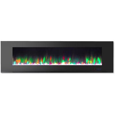 "Cambridge 72"" Wall Mount Electric Fireplace In Black With Multi Color Flames And Crystal Rock Display (cam72wmef 1blk)"