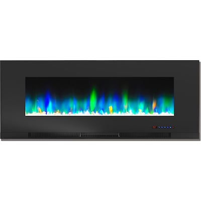 "Cambridge 50"" Wall Mount Electric Fireplace In Black With Multi Color Flames And Crystal Rock Display (cam50wmef 1blk)"