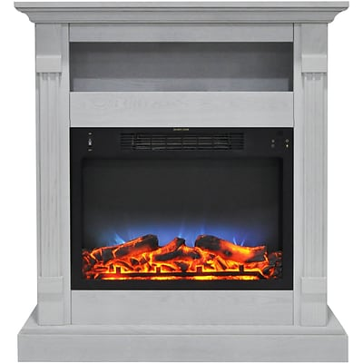 Cambridge Sienna 34 Electric Fireplace w/ Multi-Color LED Insert and White Mantel (CAM3437-1WHTLED)