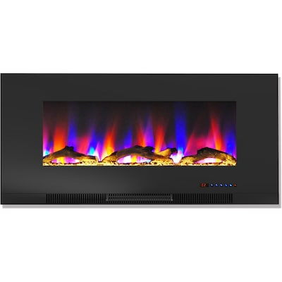 "Cambridge 42"" Wall Mount Electric Fireplace In Black With Multi Color Flames And Driftwood Log Display (cam42wmef 2blk)"