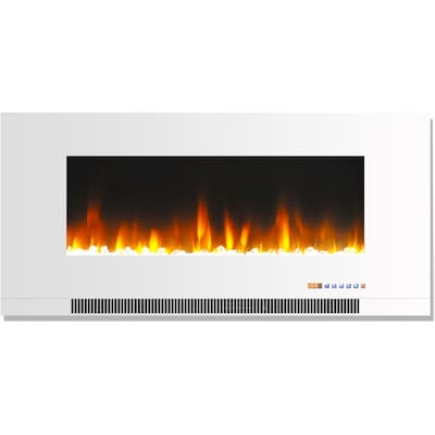 "Cambridge 42"" Wall Mount Electric Fireplace In White With Multi Color Flames And Crystal Rock Display (cam42wmef 1wht)"