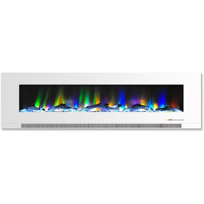 "Cambridge 60"" Wall Mount Electric Fireplace In White With Multi Color Flames And Driftwood Log Display (cam60wmef 2wht)"