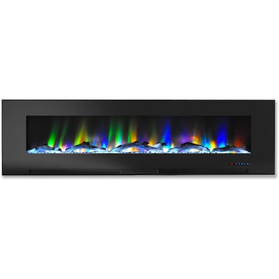 "Cambridge 60"" Wall Mount Electric Fireplace In Black With Multi Color Flames And Driftwood Log Display (cam60wmef 2blk)"