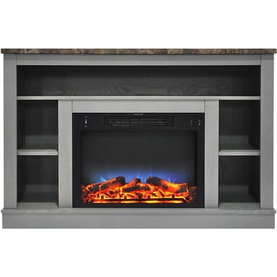 Cambridge 47 Electric Fireplace with a Multi-Color LED Insert and Gray Mantel (CAM5021-1GRYLED)