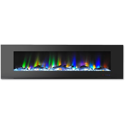 "Cambridge 72"" Wall Mount Electric Fireplace In Black With Multi Color Flames And Driftwood Log Display (cam72wmef 2blk)"