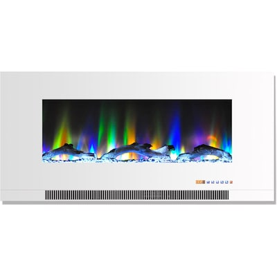 "Cambridge 42"" Wall Mount Electric Fireplace In White With Multi Color Flames And Driftwood Log Display (cam42wmef 2wht)"