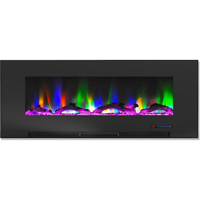"Cambridge 50"" Wall Mount Electric Fireplace In Black With Multi Color Flames And Driftwood Log Display (cam50wmef 2blk)"
