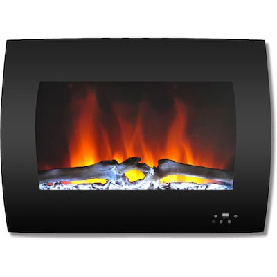 """Cambridge 26"""" Curved Wall Mount Electric Fireplace In Black With Multi Color Flames And Log Display (cam26wmef 2blk)"""