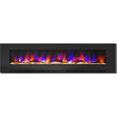 "Cambridge 78"" Wall Mount Electric Fireplace In Black With Multi Color Flames And Driftwood Log Display (cam78wmef 2blk)"