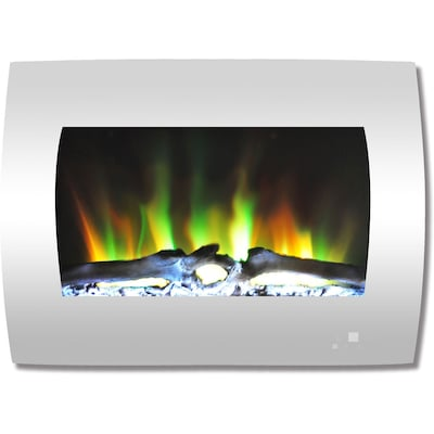 "Cambridge 26"" Curved Wall Mount Electric Fireplace In White With Multi Color Flames And Log Display (cam26wmef 2wht)"
