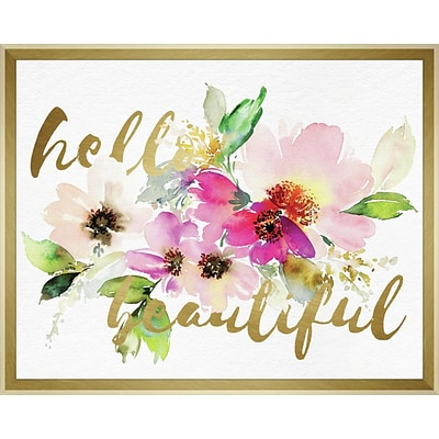 Linden Avenue Wall Art HELLO BEAUTIFUL LAYERED FLORAL 20 x 16 (AVE10381)