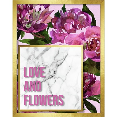 Linden Avenue Wall Art LOVE AND FLOWERS MARBLE AND WATERCOLOR PEONIES 11 x 14 (AVE10389)
