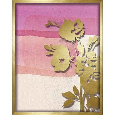 Linden Avenue Wall Art PINK ABSTRACT WATERCOLOR W. PEONY SLIHOUETTE 11 x 14 (AVE10402)