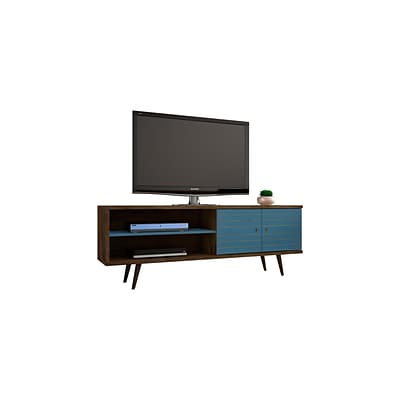 Manhattan Comfort Liberty MDP and MDF TV Stand, Rustic Brown and Aqua Blue (201AMC93)
