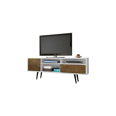 Manhattan Comfort Liberty MDP and MDF TV Stand, White and Rustic Brown (202AMC69)