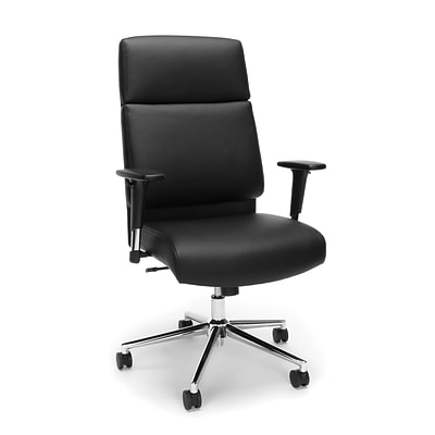 High Back Leather Manager Chair with Chrome Base, Black (568-BLK)