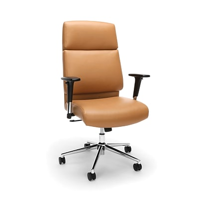 High Back Leather Manager Chair with Chrome Base, Camel (568-CAM)