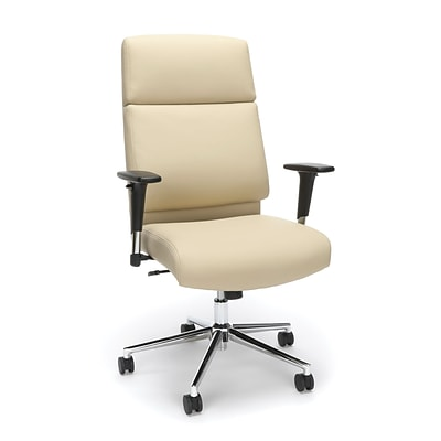 High Back Leather Manager Chair with Chrome Base, Cream (568-CRM)