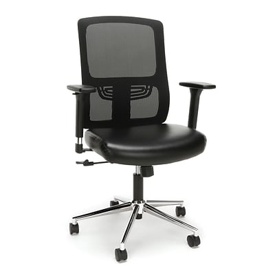 Essentials by OFM Ergonomic Mesh Chair with Leather Seat, Black/Chrome (ESS-3048-BLK-CHR)