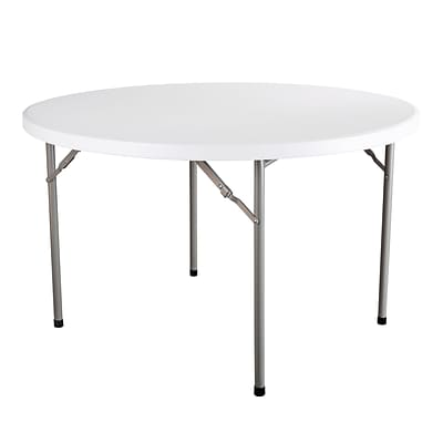Essentials By OFM 48 Inch Round Folding Utility Table, White (ESS-5048R-WHT)