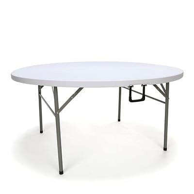 Essentials By OFM 60 Inch Round Center-Folding Utility Table, White (ESS-5060RF-WHT)