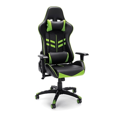 Essentials by OFM Racing Style Gaming Chair, Black/Green (ESS-6065-GRN)