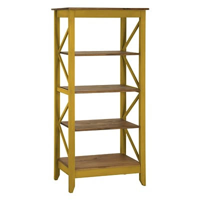 Manhattan Comfort Jay 4-Shelf 31.5 Solid Wood Bookcase, Yellow (CS33002)