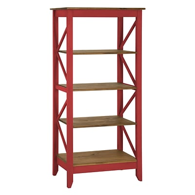 Manhattan Comfort Jay 4-Shelf 31.5 Solid Wood Bookcase, Red (CS33003)