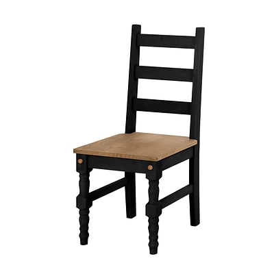 Manhattan Comfort Jay Solid Wood Dining Chair, Black - Set of 2 (CS10107)